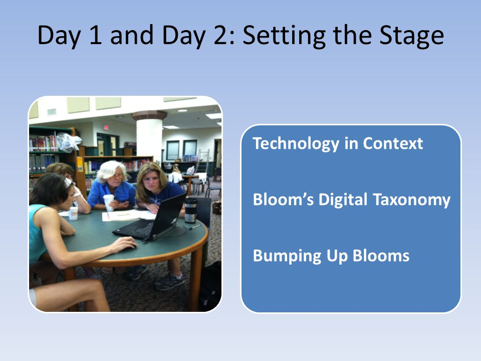 Day 1 and Day 2: Setting the Stage Technology in Context Bloom's Digital Taxonomy Bumping Up Blooms