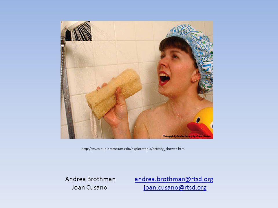 http://www.exploratorium.edu/exploratopia/activity_shower.html Andrea Brothman andrea.brothman@rtsd.organdrea.brothman@rtsd.org Joan Cusano joan.cusano@rtsd.orgjoan.cusano@rtsd.org