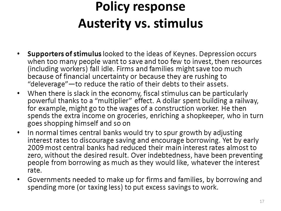 Policy response Austerity vs.stimulus Supporters of stimulus looked to the ideas of Keynes.