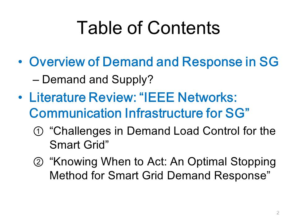 Table of Contents Overview of Demand and Response in SG – Demand and Supply.