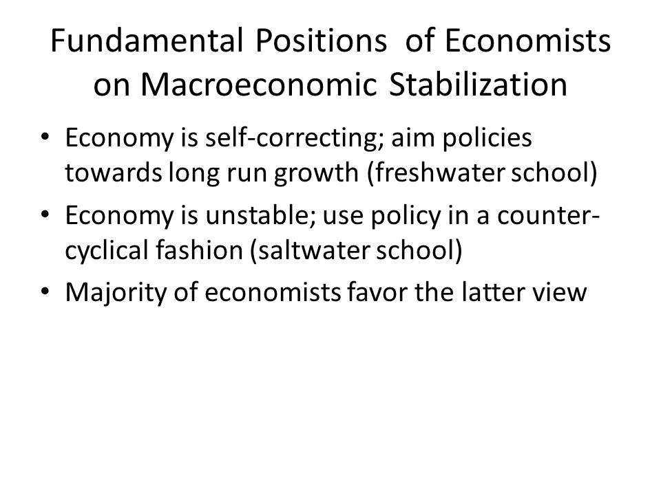 Fundamental Positions of Economists on Macroeconomic Stabilization Economy is self-correcting; aim policies towards long run growth (freshwater school) Economy is unstable; use policy in a counter- cyclical fashion (saltwater school) Majority of economists favor the latter view