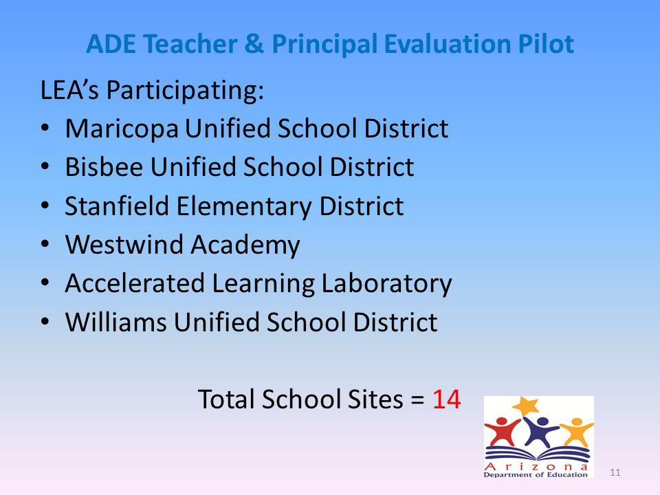 ADE Teacher & Principal Evaluation Pilot LEA's Participating: Maricopa Unified School District Bisbee Unified School District Stanfield Elementary District Westwind Academy Accelerated Learning Laboratory Williams Unified School District Total School Sites = 14 11