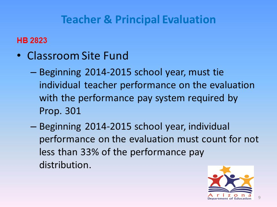 Teacher & Principal Evaluation HB 2823 Classroom Site Fund – Beginning 2014-2015 school year, must tie individual teacher performance on the evaluation with the performance pay system required by Prop.