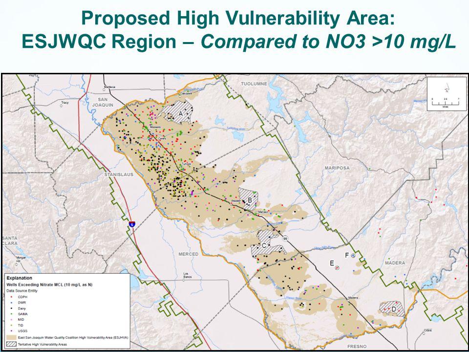 Proposed High Vulnerability Area: ESJWQC Region – Compared to NO3 >10 mg/L