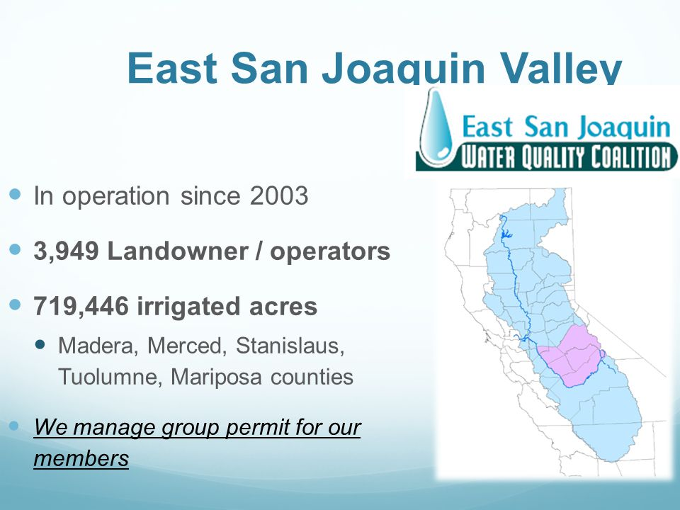 In operation since 2003 3,949 Landowner / operators 719,446 irrigated acres Madera, Merced, Stanislaus, Tuolumne, Mariposa counties We manage group permit for our members East San Joaquin Valley