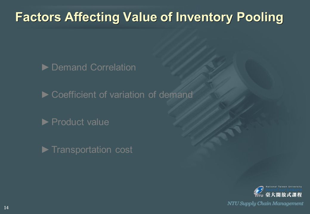 Factors Affecting Value of Inventory Pooling ►D►Demand Correlation ►C►Coefficient of variation of demand ►P►Product value ►T►Transportation cost 14