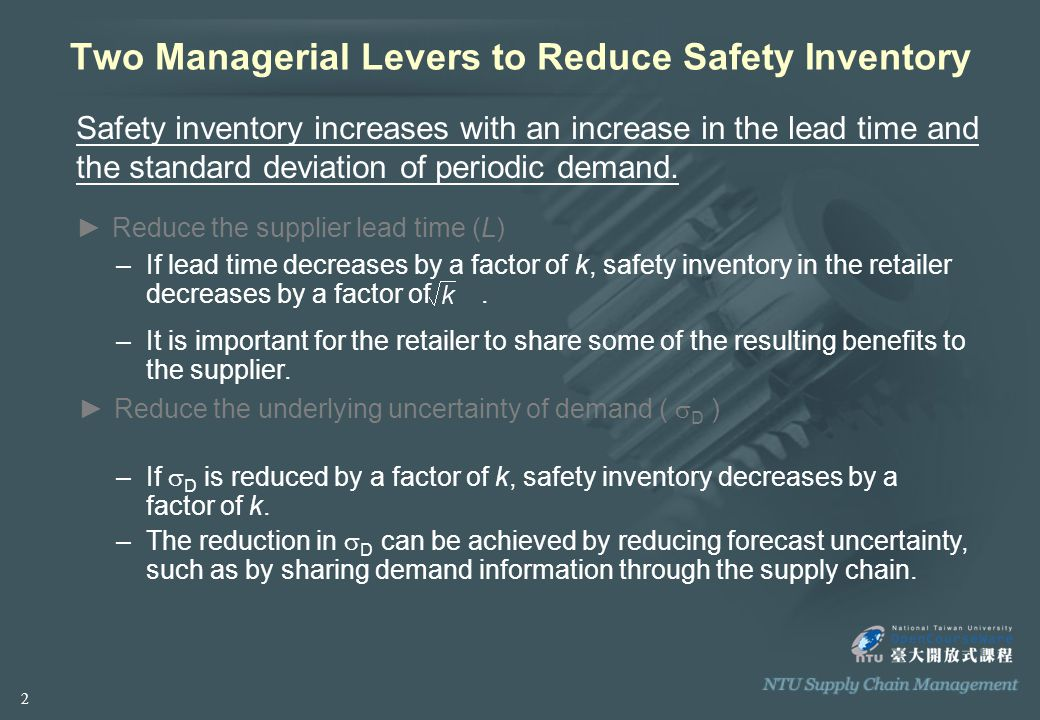 Two Managerial Levers to Reduce Safety Inventory Safety inventory increases with an increase in the lead time and the standard deviation of periodic demand.