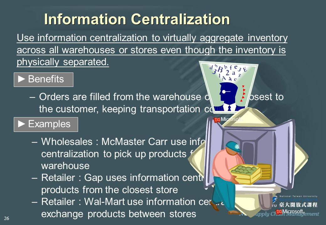 Information Centralization Use information centralization to virtually aggregate inventory across all warehouses or stores even though the inventory is physically separated.