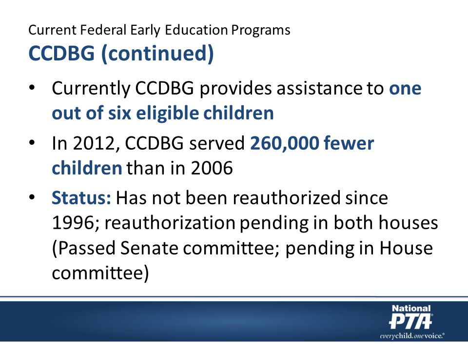Current Federal Early Education Programs CCDBG (continued) Currently CCDBG provides assistance to one out of six eligible children In 2012, CCDBG served 260,000 fewer children than in 2006 Status: Has not been reauthorized since 1996; reauthorization pending in both houses (Passed Senate committee; pending in House committee)