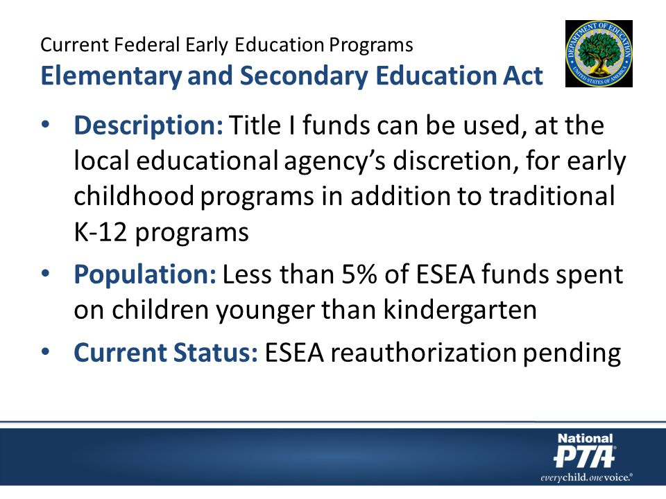 Current Federal Early Education Programs Elementary and Secondary Education Act Description: Title I funds can be used, at the local educational agency's discretion, for early childhood programs in addition to traditional K-12 programs Population: Less than 5% of ESEA funds spent on children younger than kindergarten Current Status: ESEA reauthorization pending