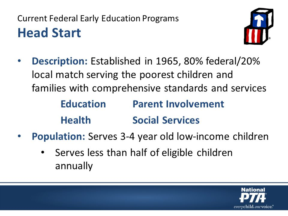 Current Federal Early Education Programs Head Start Description: Established in 1965, 80% federal/20% local match serving the poorest children and families with comprehensive standards and services EducationParent Involvement HealthSocial Services Population: Serves 3-4 year old low-income children Serves less than half of eligible children annually