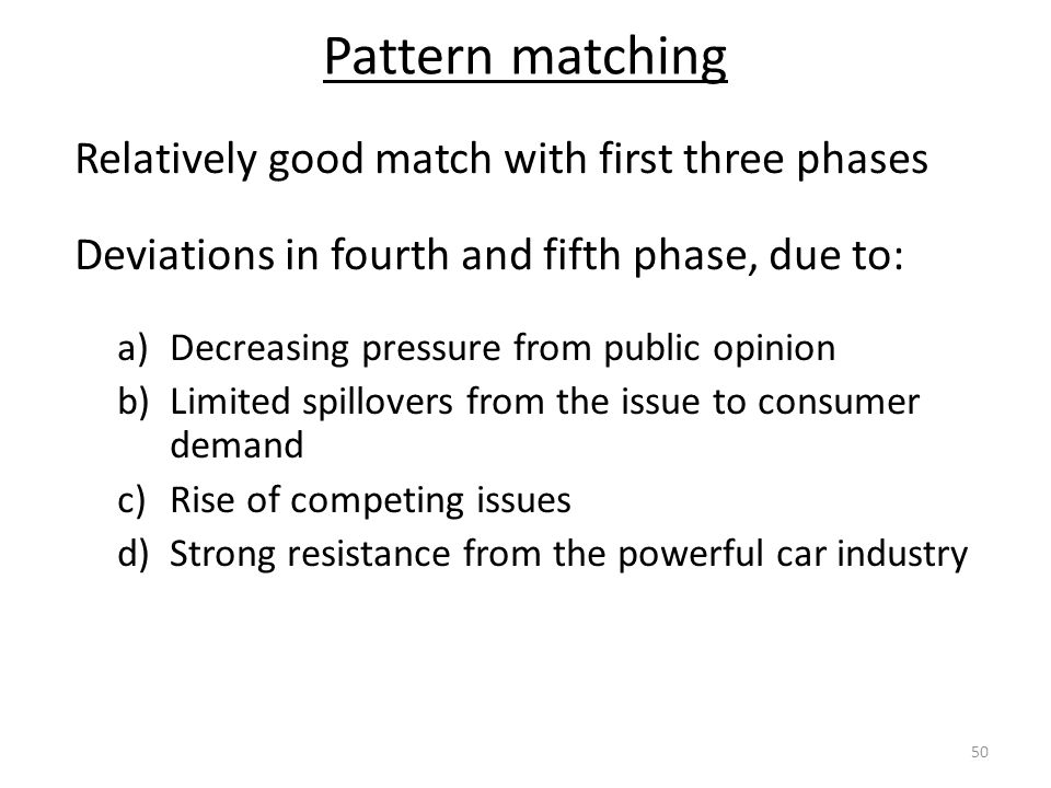 Pattern matching Relatively good match with first three phases Deviations in fourth and fifth phase, due to: a)Decreasing pressure from public opinion b)Limited spillovers from the issue to consumer demand c)Rise of competing issues d)Strong resistance from the powerful car industry 50