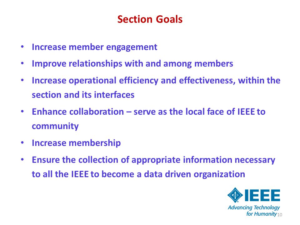 Section Goals Increase member engagement Improve relationships with and among members Increase operational efficiency and effectiveness, within the se