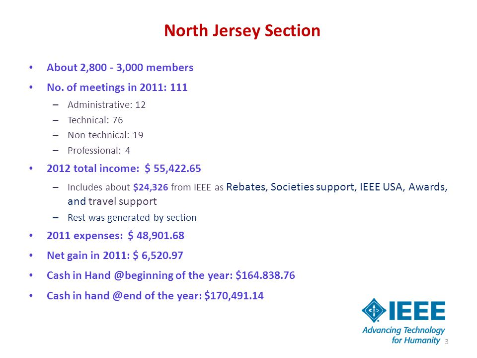 North Jersey Section About 2,800 - 3,000 members No. of meetings in 2011: 111 – Administrative: 12 – Technical: 76 – Non-technical: 19 – Professional:
