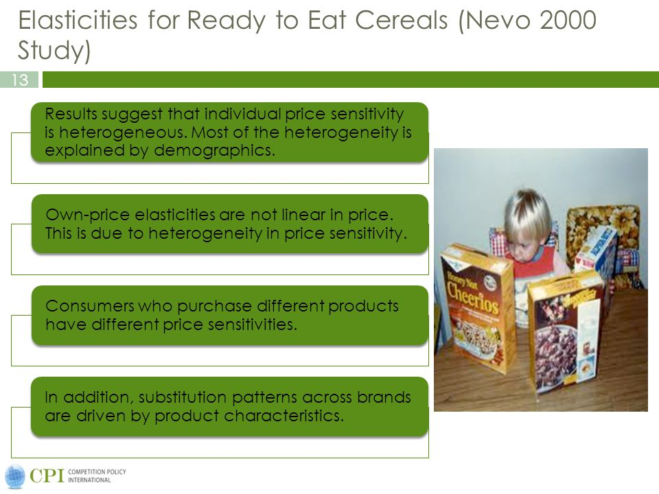 13 Elasticities for Ready to Eat Cereals (Nevo 2000 Study) Results suggest that individual price sensitivity is heterogeneous.