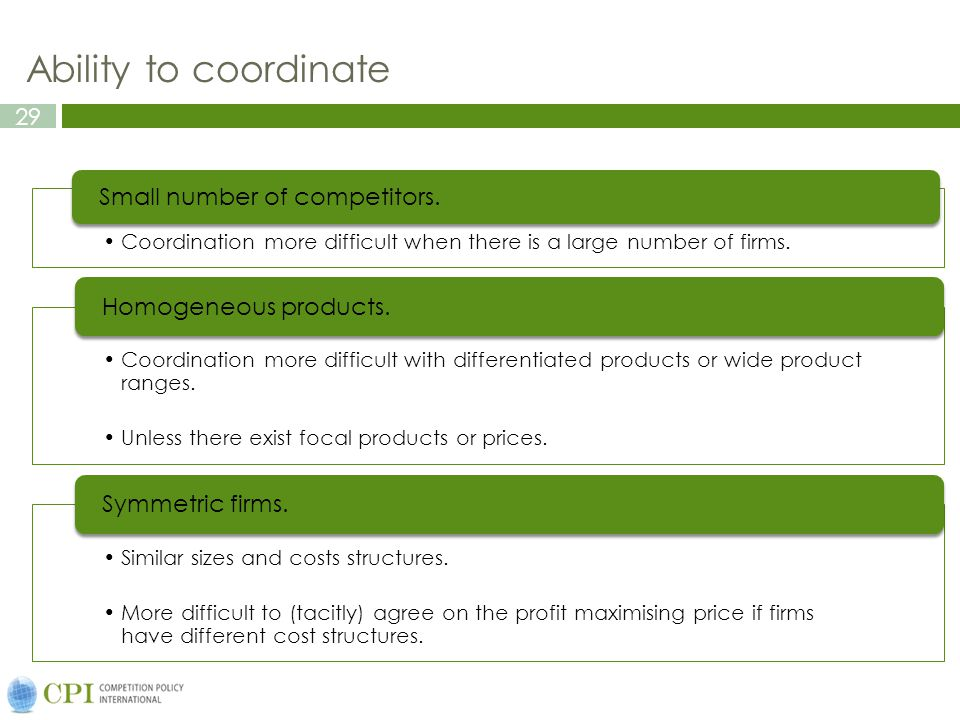 29 Ability to coordinate Coordination more difficult when there is a large number of firms.