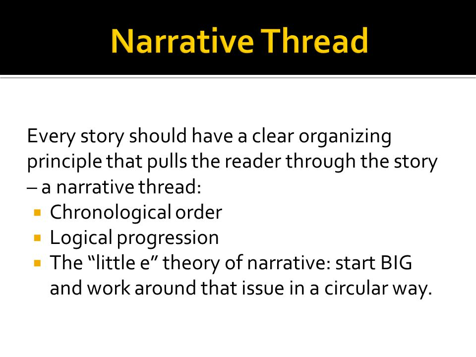  Narrative lead: describes a sequence of events, somewhat like an anecdote, but in this case the story is not an example of a larger situation.
