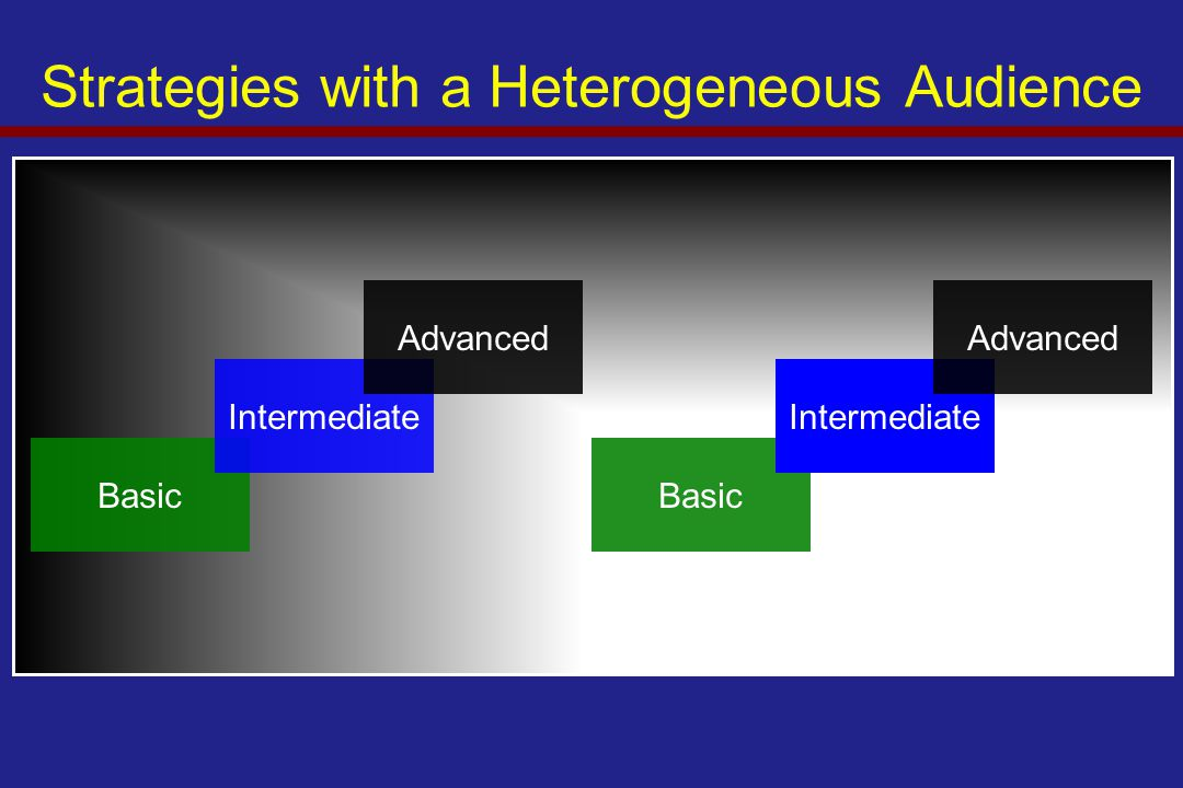 Strategies with a Heterogeneous Audience Basic Intermediate Advanced Basic Intermediate Advanced