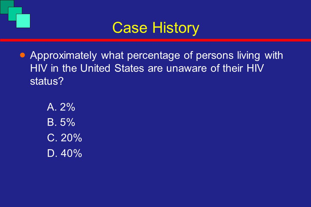  Approximately what percentage of persons living with HIV in the United States are unaware of their HIV status? A. 2% B. 5% C. 20% D. 40% Case Histor