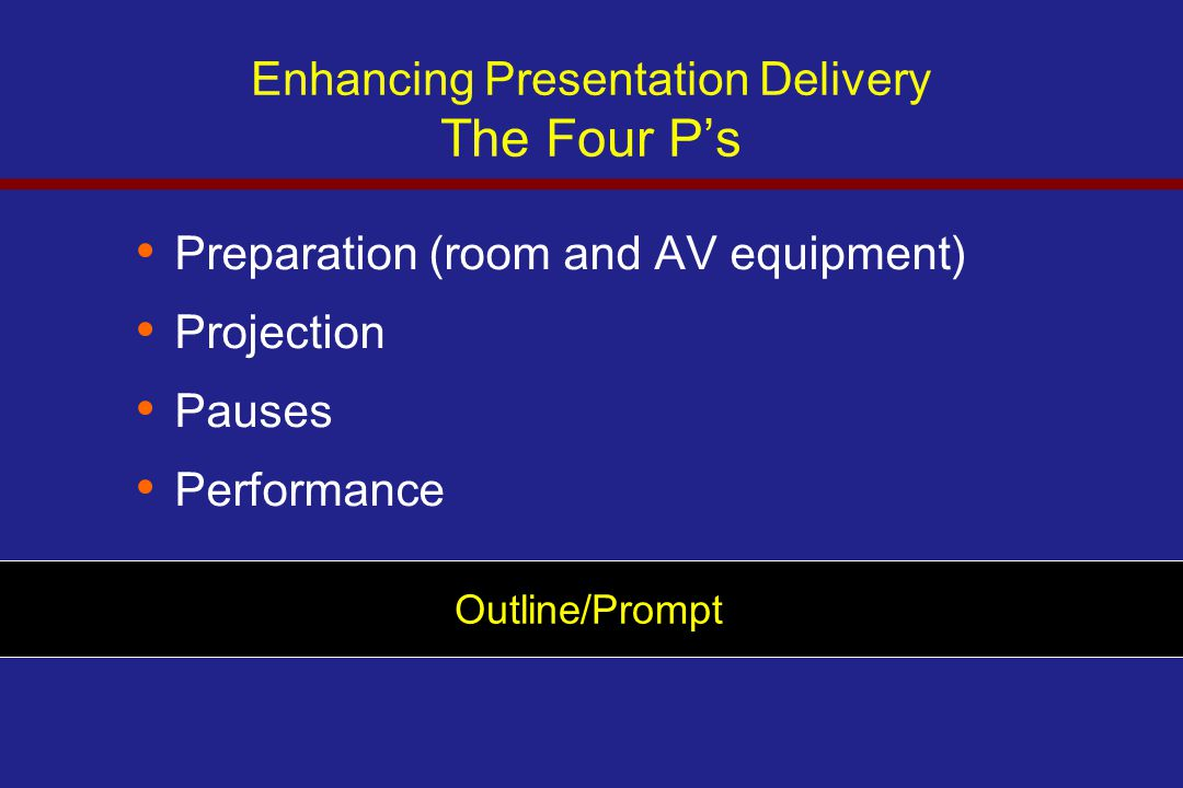 Enhancing Presentation Delivery The Four P's Preparation (room and AV equipment) Projection Pauses Performance Outline/Prompt