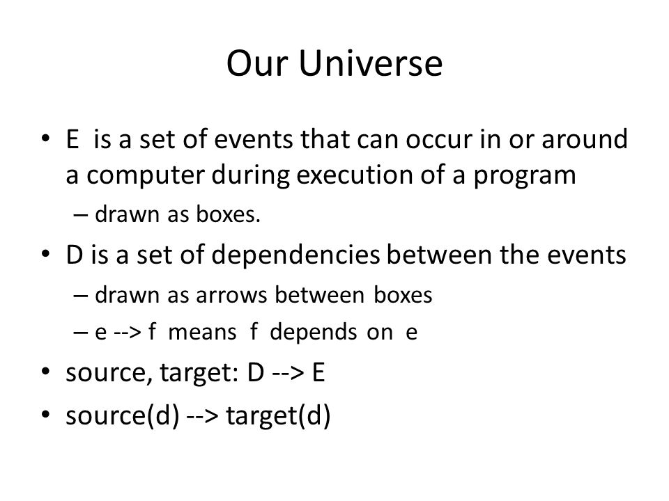 Our Universe E is a set of events that can occur in or around a computer during execution of a program – drawn as boxes.