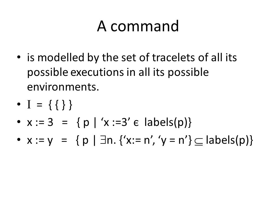 A command is modelled by the set of tracelets of all its possible executions in all its possible environments.
