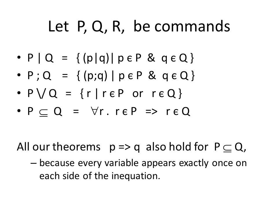Let P, Q, R, be commands P | Q = { (p|q)| p є P & q є Q } P ; Q = { (p;q) | p є P & q є Q } P \/ Q = { r | r є P or r є Q } P  Q =  r. r є P => r є