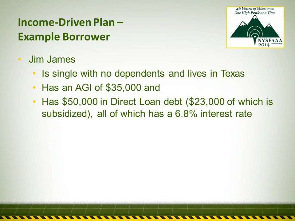 Income-Driven Plan – Example Borrower Jim James Is single with no dependents and lives in Texas Has an AGI of $35,000 and Has $50,000 in Direct Loan debt ($23,000 of which is subsidized), all of which has a 6.8% interest rate