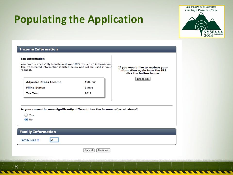 Populating the Application 39