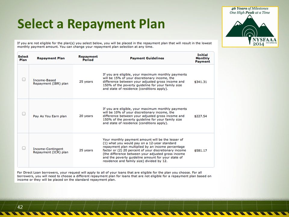 Select a Repayment Plan 42