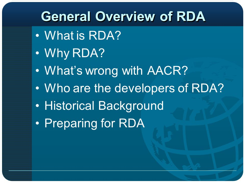 AACR2-RDA Comparison Things that stay the same Some changes to know about Things that are different Rules affecting Arabic cataloging AACR2 vs.