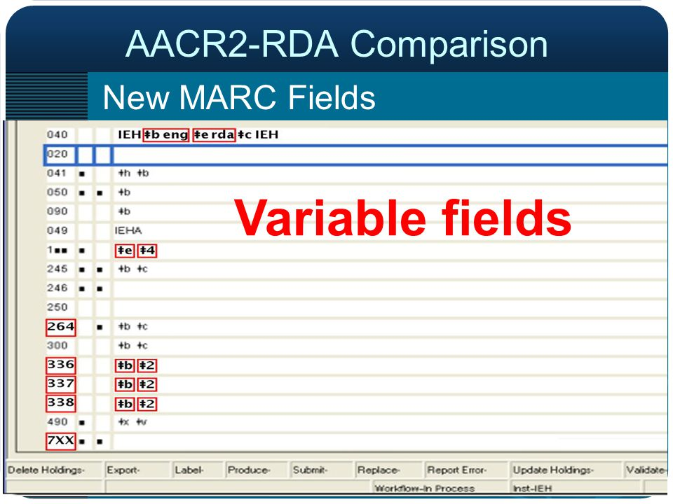 Variable fields New MARC Fields AACR2-RDA Comparison