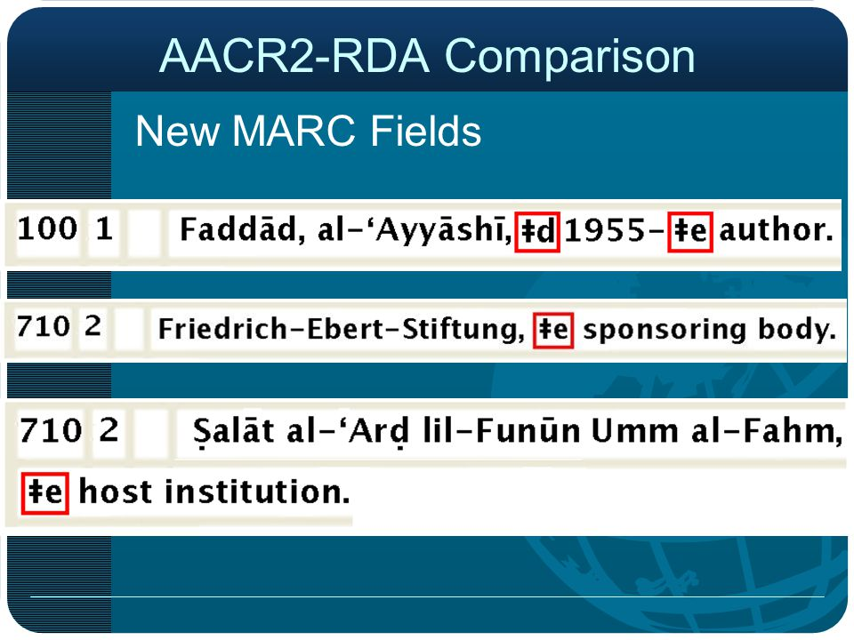 New MARC Fields AACR2-RDA Comparison