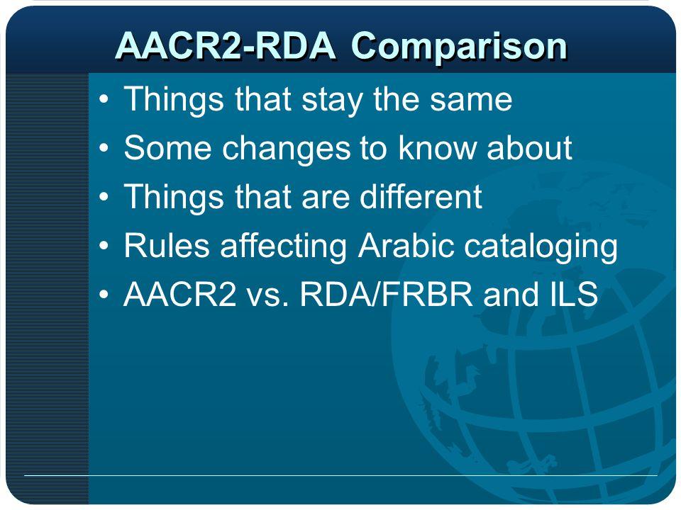 New MARC Fields AACR2-RDA Comparison