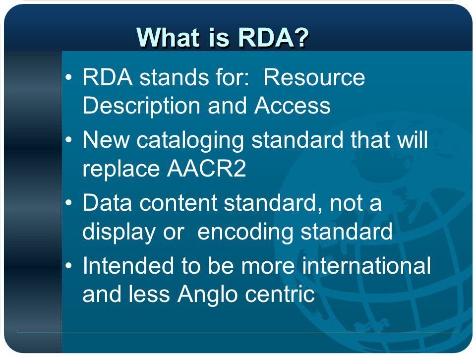 AACR2 vs. RDA/FRBR and ILS Bibliotheca Alexandrina Started Using VTLS-FRBR Module