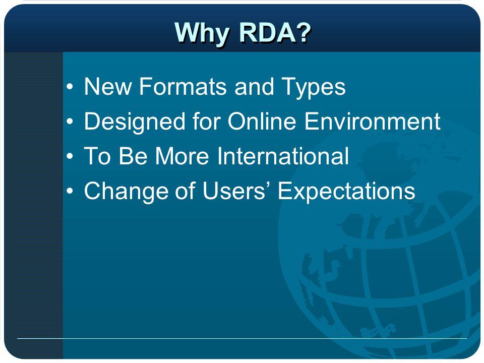 Fixed fields New MARC Fields AACR2-RDA Comparison