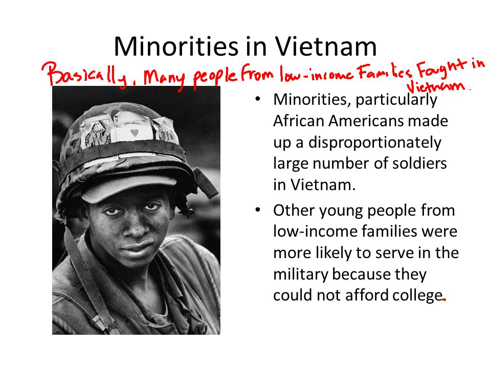 Minorities in Vietnam Minorities, particularly African Americans made up a disproportionately large number of soldiers in Vietnam. Other young people
