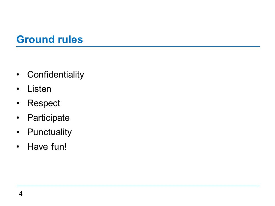 Ground rules Confidentiality Listen Respect Participate Punctuality Have fun! 4