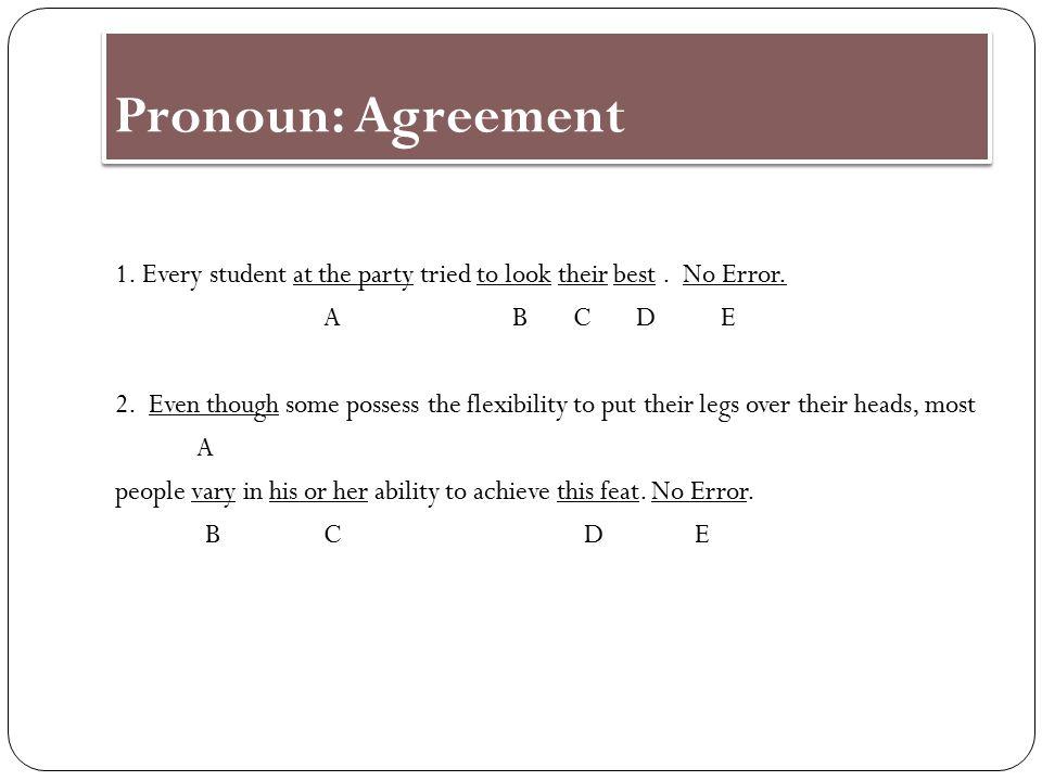 Agreement Case Me/I confusion Me/My with gerund Pronoun shift Ambiguous pronouns Comparisons using pronouns 10.