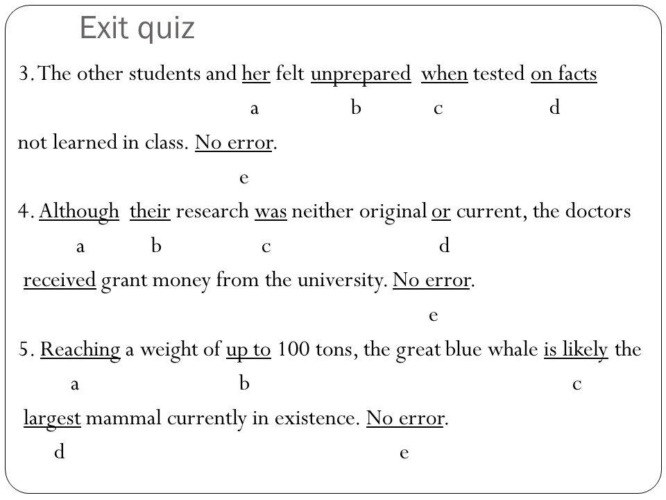 Exit quiz 1.
