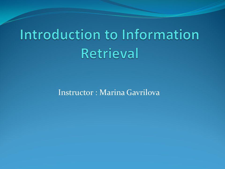 Instructor : Marina Gavrilova