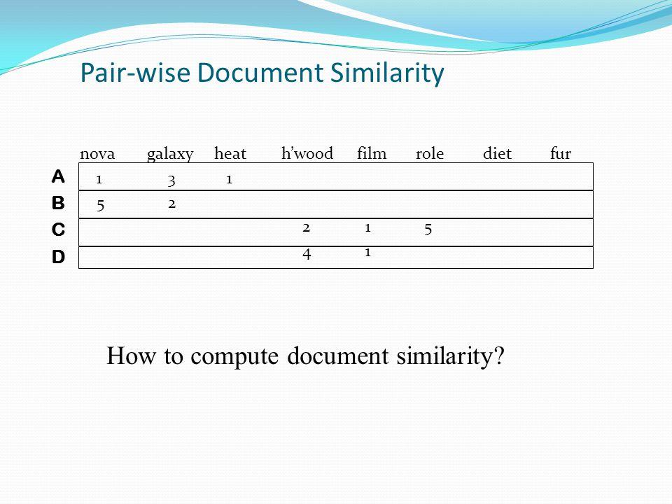Pair-wise Document Similarity novagalaxy heath'wood filmroledietfur 1 3 1 5 2 2 1 5 4 1 ABCDABCD How to compute document similarity?
