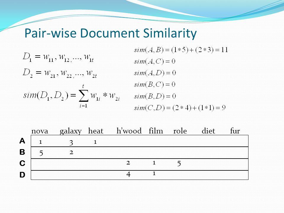 Pair-wise Document Similarity novagalaxy heath'wood filmroledietfur 1 3 1 5 2 2 1 5 4 1 ABCDABCD
