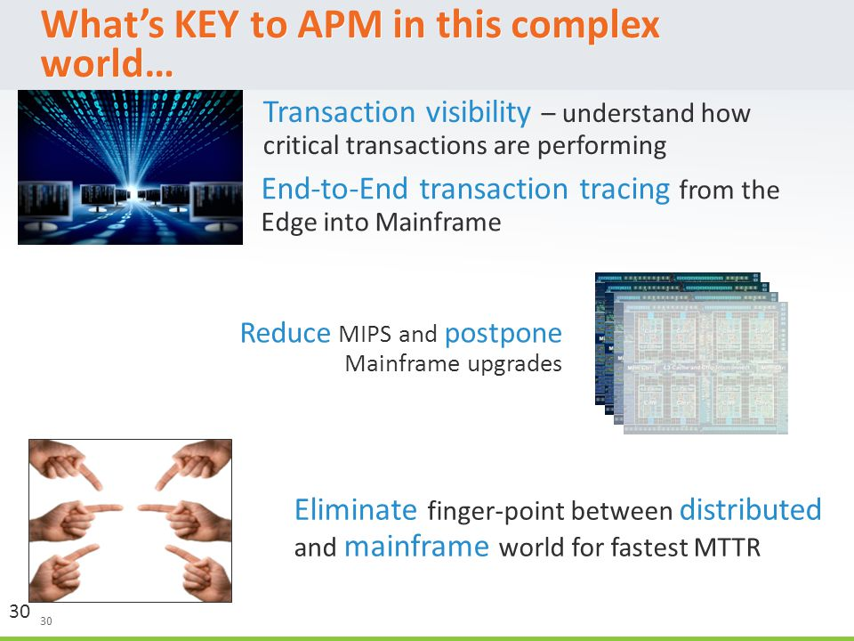 30 What's KEY to APM in this complex world… 30 Eliminate finger-point between distributed and mainframe world for fastest MTTR Reduce MIPS and postpone Mainframe upgrades End-to-End transaction tracing from the Edge into Mainframe Transaction visibility – understand how critical transactions are performing