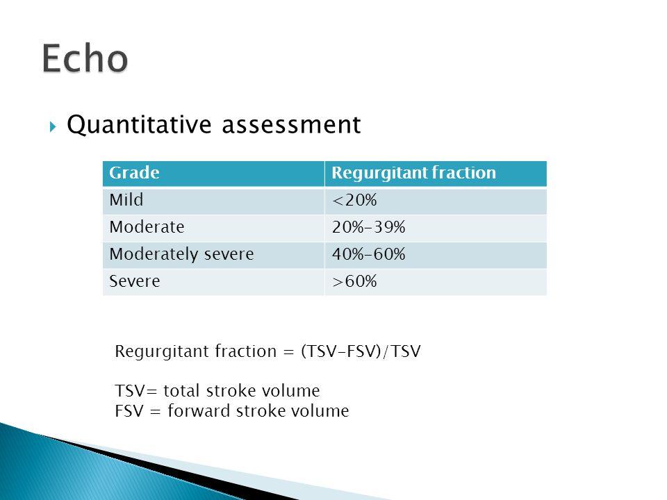  Quantitative assessment GradeRegurgitant fraction Mild<20% Moderate20%-39% Moderately severe40%-60% Severe>60% Regurgitant fraction = (TSV-FSV)/TSV TSV= total stroke volume FSV = forward stroke volume