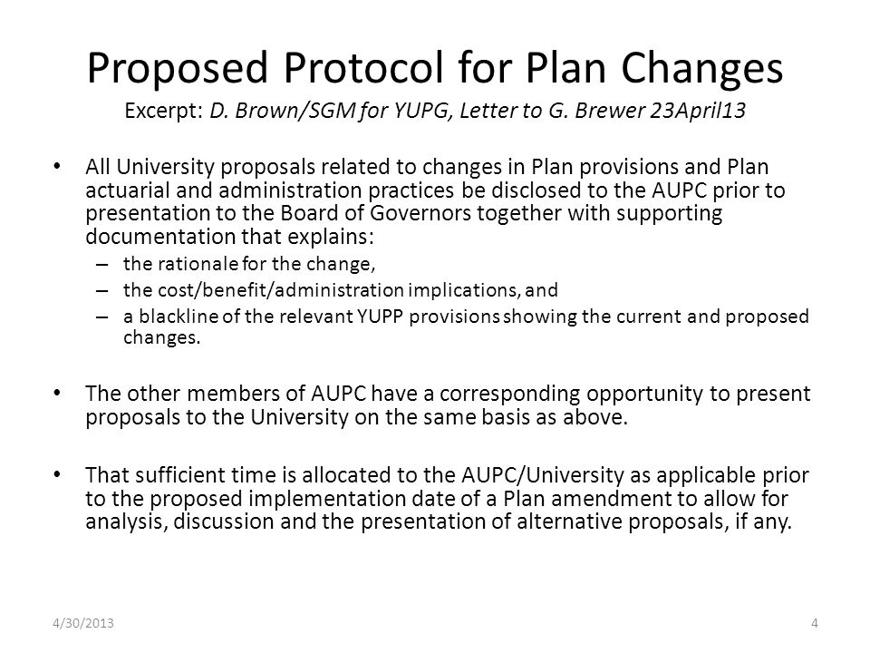 Proposed Protocol for Plan Changes Excerpt: D. Brown/SGM for YUPG, Letter to G.