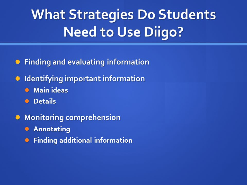 What Strategies Do Students Need to Use Diigo.