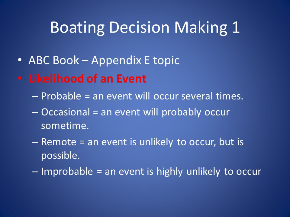 Boating Decision Making 1 ABC Book – Appendix E topic Likelihood of an Event – Probable = an event will occur several times.
