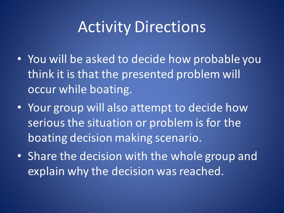 Activity Directions You will be asked to decide how probable you think it is that the presented problem will occur while boating.