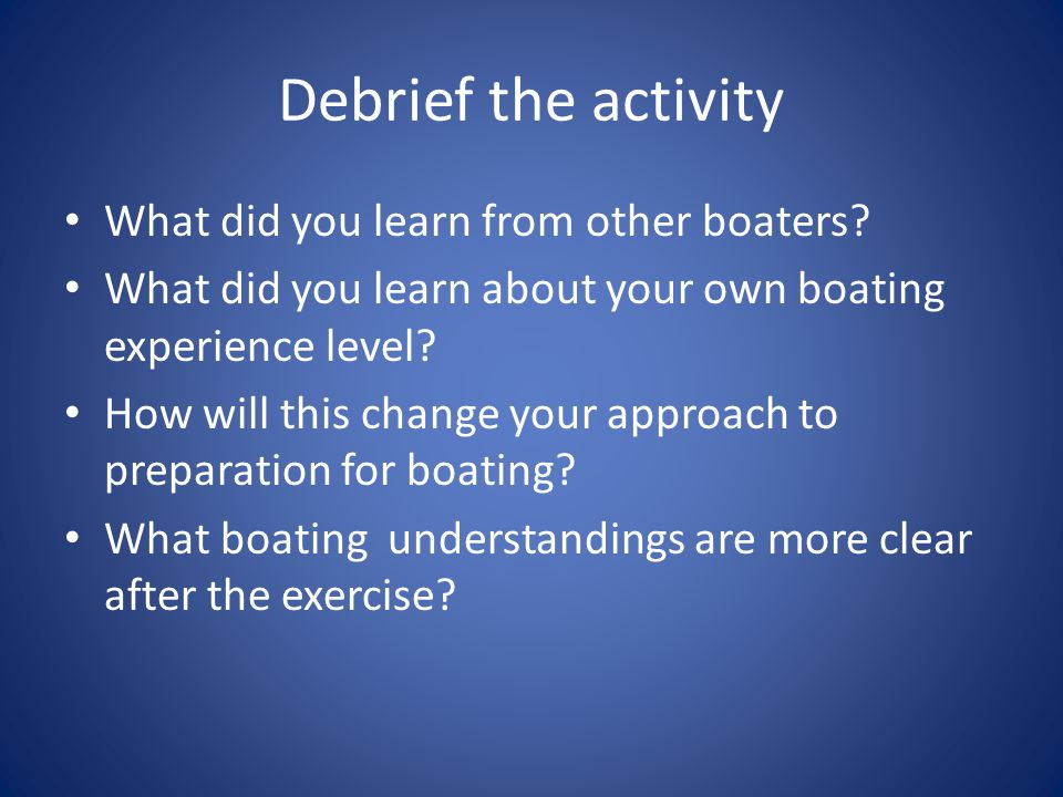 Debrief the activity What did you learn from other boaters.
